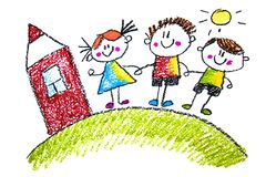 Children`s drawings in pencil on paper, kindergarten, drawing, learning, drawing with the teacher. stock illustration