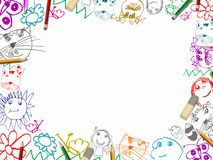 Children's drawings with pencils frame background Royalty Free Stock Photography