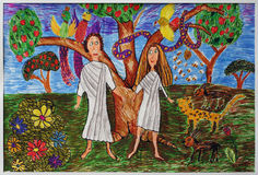 Children's drawings. Children's picture on her family and faith in God Royalty Free Stock Photo