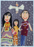 Children's drawings. Children's picture on her family and faith in God Royalty Free Stock Images