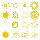 Children`s drawings of sun Stock Image
