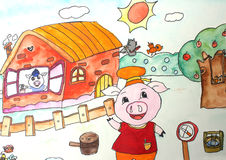 Children's drawings. Three Little Pigs stock illustration