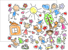 Children's drawings, vector