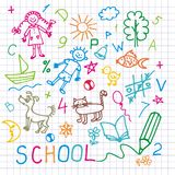 Children's drawings. Vector background.