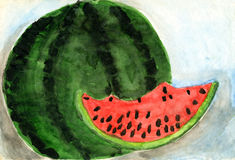 Children's drawings. Watermelon. Freehand drawing royalty free illustration