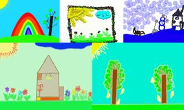 Children`s drawings about the weather. Children`s drawings depicting the sky, the sun, winter, spring, summer, autumn, houses vector illustration