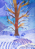 Children's drawingWinter Landscape royalty free illustration