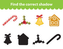 Children s educational game, find correct shadow silhouette. Christmas set for game to find the right shade. Vector illustration Stock Photography