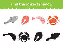 Children s educational game, find correct shadow silhouette.. Seafood set the game to find the right shade. Vector illustration Stock Photo