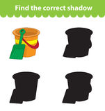 Children`s educational game, find correct shadow silhouette. Toy bucket and shovel, set the game to find the right shade. Vector i. Llustration Stock Images