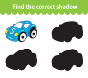 Children`s educational game, find correct shadow silhouette. Toy car, set the game to find the right shade. Vector illustration.  Royalty Free Stock Image
