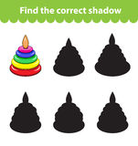 Children`s educational game, find correct shadow silhouette. Toy pyramid, set the game to find the right shade. Vector illustratio. N Stock Photo