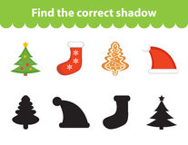 Children s educational game, find correct shadow silhouette. Vector illustration Royalty Free Stock Images
