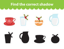 Children s educational game, find correct shadow silhouette. Vector illustration. Children s educational game, find correct shadow silhouette. Christmas set for Royalty Free Stock Photo