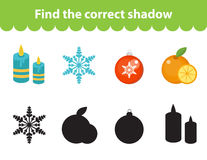 Children s educational game, find correct shadow silhouette. Vector illustration. Children s educational game, find correct shadow silhouette. Christmas set for Royalty Free Stock Image