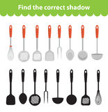 Children s educational game, find correct shadow silhouette. Vector illustration. Children`s educational game, find correct shadow silhouette. Kitchen utensils Royalty Free Stock Images