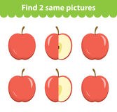 Children`s educational game. Find two same pictures.  Royalty Free Stock Photo