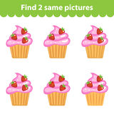 Children's educational game. Find two same pictures. Set of cupcakes for the game find two same pictures. Vector illustration.  Royalty Free Stock Photography
