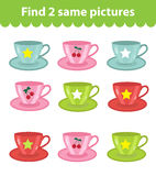 Children`s educational game. Find two same pictures.. Set of cups, for the game find two same pictures. Vector illustration Stock Photography