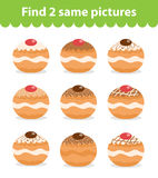Children`s educational game. Find two same pictures. Set of donuts, for the game find two same pictures. Vector illustration Stock Images