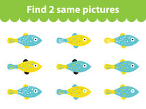 Children's educational game. Find two same pictures. Set of fish for the game find two same pictures. Vector illustration. Children's educational game. Find two Royalty Free Stock Photography