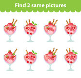 Children's educational game. Find two same pictures. Set of ice cream dessert for the game find two same pictures. Vector ill Royalty Free Stock Photo