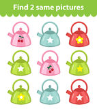 Children`s educational game. Find two same pictures. Set of Kettle, for the game find two same pictures. Vector illustration. Children`s educational game. Find Stock Image