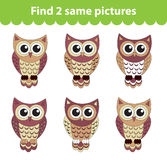 Children's educational game. Find two same pictures. Set of owl for the game find two same pictures. Vector illustration. Children's educational game. Find two Royalty Free Stock Photos