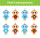 Children`s educational game. Find two same pictures. Stock Photography