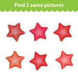 Children's educational game. Find two same pictures. Set starfish for the game find 2 same picture. Vector illustration. Children's educational game. Find two Stock Photography