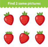 Children`s educational game. Find two same pictures. Set of strawberries, for the game find two same pictures. Vector illustration.  Stock Photography