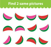 Children`s educational game. Find two same pictures. Set of watermelon, for the game find two same pictures. Vector illustration. Children`s educational game Royalty Free Stock Images