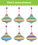 Children's educational game. Find two same pictures. Set of whirligig for the game find two same pictures. Vector illustratio Royalty Free Stock Photography