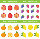 Children s educational game. Find two same pictures. Vector illustration. Childrens educational game. Find two same pictures. Vector illustration Stock Images