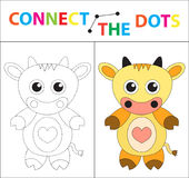 Children`s educational game for motor skills. Connect the dots picture. For children of preschool age. Circle on the. Dotted line and paint. Coloring page Royalty Free Stock Photos
