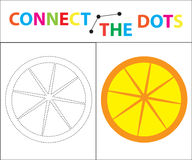 Children`s educational game for motor skills. Connect the dots picture. For children of preschool age. Circle on the. Dotted line and paint. Coloring page Stock Illustration