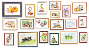 Children's exhibition of watercolor arts Stock Photos