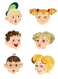 Children's faces. In different expressions Royalty Free Stock Images
