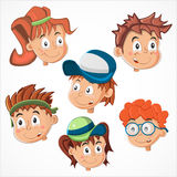 Childrens faces. Happy Childrens faces on a white background Royalty Free Stock Image