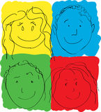 Children's Faces, Primary Colors. Children's faces in primary colors Royalty Free Stock Images