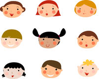 Children's faces. Set. Illustration of laughing children's faces. Set Stock Photography