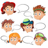 Childrens Faces with Speech Bubbles Stock Images