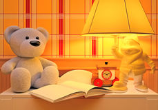 Children's fairy tale for the night. Books, toy, hours and lamp. The fairy tale read for the night Stock Image