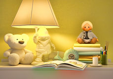 Children's fairy tale for the night. The fairy tale for the night. A still life with toys and the open book Royalty Free Stock Photos