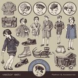 Children's fashion, accessories and toys. Collection of vintage design elements (20s Royalty Free Stock Photo