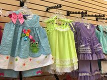 Girls store display of play clothes Royalty Free Stock Images