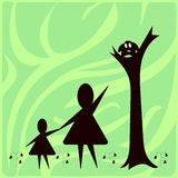 Children's fears, abstract illustration. Mother shows daughter's little monster royalty free illustration