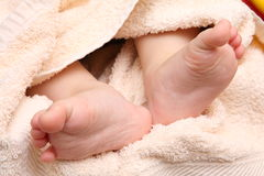 Children's feet in the hands of the mother Stock Image