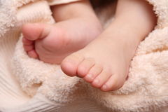 Children's feet in the hands of the mother Stock Images