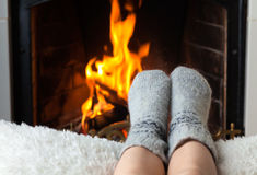 Children's feet are heated Stock Photo